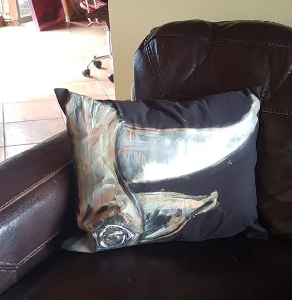 Hand Painted Pillow Cows Head